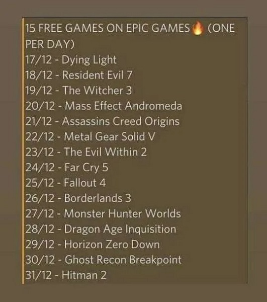Epic Games Released Games to be Distributed Free for 15 Days